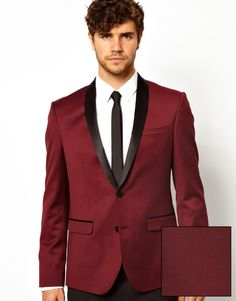 $107, Burgundy Blazer: Asos Skinny Fit Tuxedo Jacket In Burgundy. Sold by Asos. Click for more info: http://lookastic.com/men/shop_items/62510/redirect