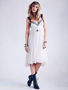 Free People Lace Godet Babydoll Dress