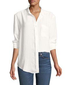 Long-Sleeve High-Low Tie Shirt