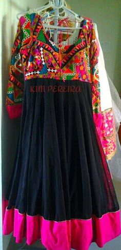Custom Made Garments. Black Anarkali Dress with a Colourful Embroidered Yoke. USD 350.00 with Shipping Worldwide. www.kimpereira.in