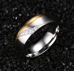 Rings For Women Man CZ Diamond Wedding Ring 18k Gold Plated Stainless Steel Promise Jewelry 1