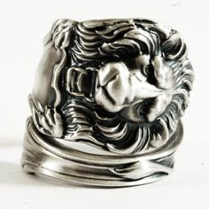 Victorian Lion Sterling Silver Spoon Ring Handmade by Spoonier