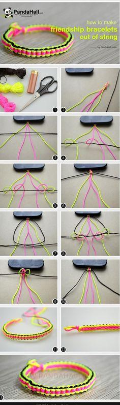 to make cool bracelets with string-Really easy friendship bracelet patterns!How to make cool bracelets with string-Really easy friendship bracelet patterns! Diy Bracelets With String, Diy Bracelets Easy, Bracelet Crafts, Paracord Bracelets, Jewelry Crafts, Handmade Jewelry, Macrame Bracelets, Macrame Knots, Loom Bracelets