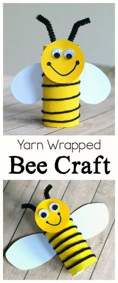 Cardboard Tube Bee Craft for Kids: Practice fine motor skills with this simple bee art project using an empty toilet paper roll and yarn. Fun for preschool, kindergarten, and first grade! ~ BuggyandBuddy.com #artsandcraftswithpaper,