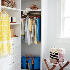 White Walk In Closet with Folding Stool