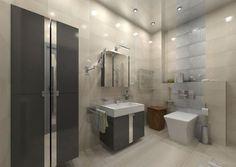 carrelage mural gris taupe, mobilier gris anthracite, lavabo design et éclairage LED encastré