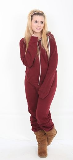 A maroon adult onesie suitable for both men and women black colour chunky zip 65 cotton 35 Polyester This Red all in one suit is perfect for braving