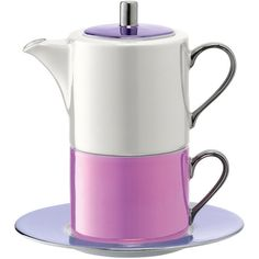 LSA International Polka Tea for One & Saucer - Pastel (4,380 INR) ❤ liked on Polyvore featuring home, kitchen & dining, drinkware, purple, purple tea cups, pastel tea set, purple tea set, lsa international and stacked teacups