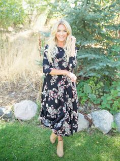 NEW DRESS ALERT! You just cannot go wrong with our newest Amber Black Floral Paisley Dress! Its soft, flowy fabric will have you wanting to dance all night long! This dreamy dress also comes in Cranberry and Olive.    Bella Ella Boutique