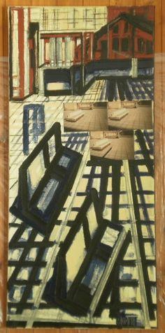 Visione di un porticato 50x109 olio, smalto, elemento fotografico