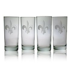 Susquehanna Glass Fleur De Lis 15-Ounce Hiball Glass, Set of 4