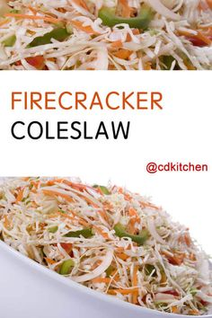 Coleslaw with a kick! It's made with shredded cabbage that's tossed with a spicy dressing along with vegetables and two kinds of jalapenos. Shredded Cabbage Recipes, Cabbage Salad Recipes, Slaw Recipes, Pepper Cabbage Recipe, Chicken Recipes, Mustard Slaw Recipe, Hot Slaw Recipe, Recipe Spice, Coleslaw With Vinegar Dressing