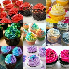 Rainbow Cupcake collage