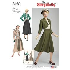 Our classic separates for Misses' include a fitted bolero, full circular skirt, and feminine back-button blouse. Vintage 1940s Simplicity sewing pattern. Find it at simplicity.com.
