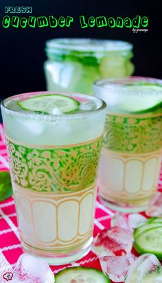 The most refreshing lemonade with two amazing additions. This lemonade is flavored with cucumber and fresh mint.Can you think of a more refreshing drink? Perfect for summer!   giverecipe.com   #drink #lemonade #cucumber #mint #beverage #summer