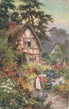 woman facing right, bending over about to pick a flower, large house behind left