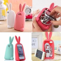 Cute Rabbit Storage Silicone Case For Iphone 4/4S/5