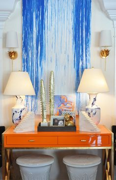 Orange and blue hues make the perfect summer color combo at Mecox Palm Beach #interiordesign #home #decor #design