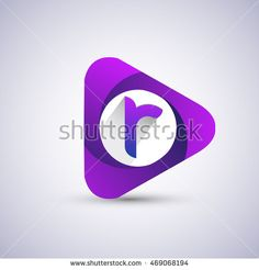 R letter logo in the triangle shape, font icon, Vector design template elements…