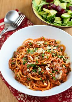 Nothing like digging into a bowl of homemade spaghetti bolognese and this one is a family favorite with a delicious rich tomato sauce.