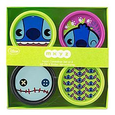 Stitch MXYZ Food Container Set | Disney Store Stitch keeps a lid on things with this set of four food containers. The colorful collection features Experiment 626 and Lilo's cuddly companion Scrump the Doll and is designed to add a little bite to meal times.