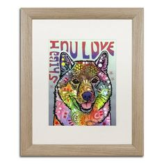 """Trademark Art 'Shiba Inu Luv' by Dean Russo Framed Painting Print Matte Color: White, Size: 20"""" H x 16"""" W x 0.5"""" D"""
