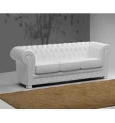 Canapé CHESTERFIELD en cuir 3 places ROGER style british coloris blanc
