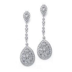 Graceful CZ Etched Dangle Earrings