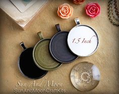 5 Round Pendant Kits ~1.5 Inch Pendant Tray With Matching Glass Cabochon~ 38mm Circle Blank Pendant Bezel~SIlver,Bronze,Copper,Gunmetal DiY