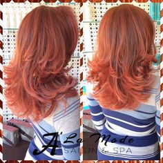 Who said going orange was a scary idea? Make a drastic change with your hair color today! Get this fabulous, trendy, light orange copper with a layered cut and a wavy blowout #light #copper #orange #hair #color #lightorange #orangecopper #haircolor #layers #haircut #blowdry #wavy #instahair #instacolor #fab #trendy #aveda #loreal #nyc #brooklyn #bayridge #alamodesalonandspa #hairsalon #7184911100