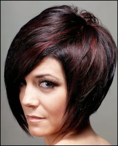 highlights on black hair - short hairstyle