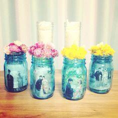 used maison jars as photoframe & base for my wedding.