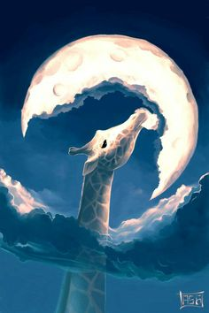 """Giraffe Eats the Moon by Cyril Rolando: The fable of the moon and the giraffe: Does anyone wonder why the moon has a crescent form? The giraffe can't sleep because the moonlight keeps her awake! Every month, she starts eating the moon. Cyril Rolando, Les Fables, Wow Art, Belle Photo, Amazing Art, Awesome, Amazing Paintings, Concept Art, Art Drawings"