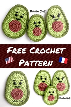 Free Crochet Pattern: Appliques – Avocados / Patron Gratuit: Appliques – Avocats