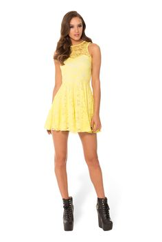 Lemon Lace Skater Dress - LIMITED (WW $90AUD / $85USD) by Black Milk Clothing