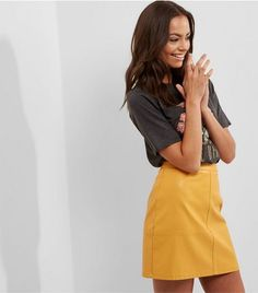 Yellow Leather-Look Mini Skirt | New Look