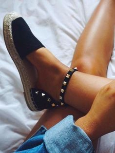 PORTIA Black Stud Espadrilles - love the combo of studs and espadrilles...preppy and cool!