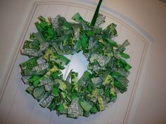 saint patrick's day wreath-A cute rag wreath project!!!