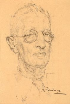 Seeking superior fine art prints of Man with Glasses by Nicolai Fechin? Portrait Sketches, Pencil Portrait, Portrait Art, Drawing Sketches, Pastel Drawing, Painting & Drawing, Nicolai Fechin, Gouache, Drawing Studies