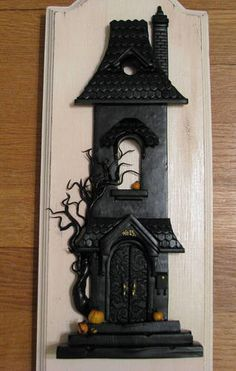 haunted house, polymer clay