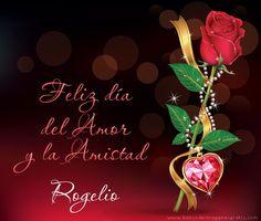 """50 postales con mensaje de """"Feliz Día del Amor y la Amistad"""", rosa roja y corazón con nombres de personas   BANCO DE IMAGENES GRATIS"""