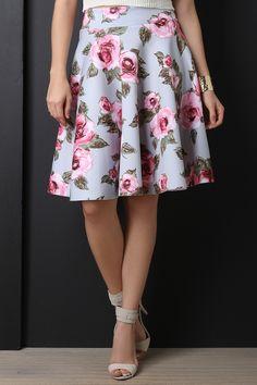 Floral Print High Waist Circle Skirt