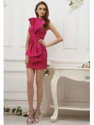 Silk Large Strapless Bow Feature Ruched Bodice Knee-length Prom Dress
