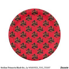 Sicilian Trinacria Black Gold & Your Color Paper Plate