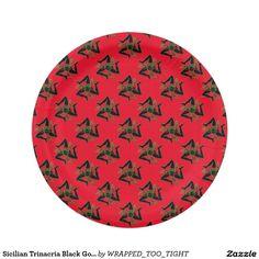 Sicilian Trinacria Black Gold & Your Color Paper Plate