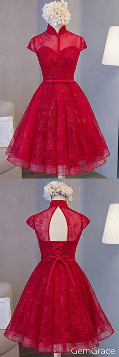 Beautiful, elegant, red lace open back dress <3