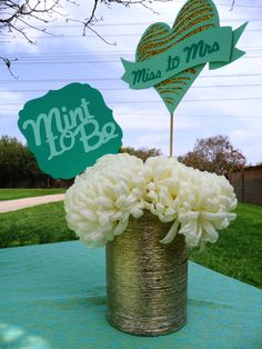 Mint to Be Bridal Shower Centerpiece Miss to Mrs by EMTsweeetie Mint Bridal Showers, Outdoor Bridal Showers, My Bridal Shower, Flower Decorations, Wedding Decorations, Wedding Ideas, Bridal Shower Centerpieces, Centrepieces, Shower Inspiration