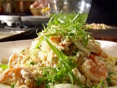 Shrimp and Egg Fried Rice with Napa Cabbage Recipe : Tyler Florence : Food Network Rice Recipes, Seafood Recipes, Asian Recipes, Cooking Recipes, Ethnic Recipes, Meatless Recipes, Primal Recipes, Noodle Recipes, Seafood Dishes