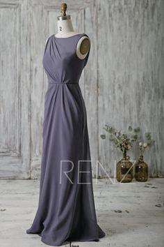 2016 Steel Blue Bridesmaid Dress Long High Neck by RenzRags
