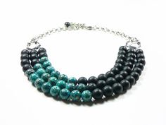 Colourblock statement necklace black frosted by LightcityLife